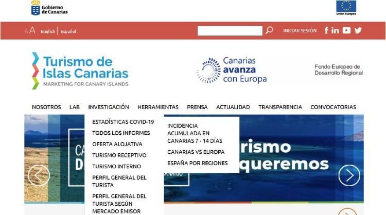 Sección de la web profesional de Turismo de Islas Canarias donde se alojan las estadísticas actualizadas de covid-19